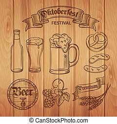 Decorative hand draw beer icons  and wood background.