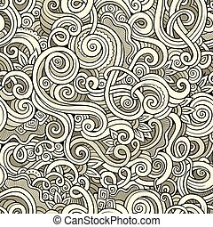 Decorative hand drawn doodle nature ornamental curl seamless...