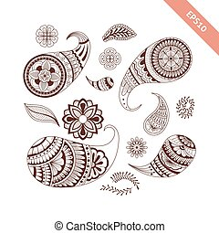 Decorative hand drawn element henna style collection. Floral paisley set for your design, tattoo. Henna-mehndi doodles design