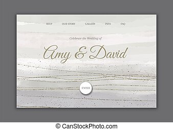Decorative hand painted wedding landing page 0802
