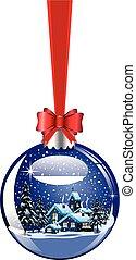 Decorative hanging christmas ball with winter christmas...