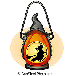 Decorative hanging lamp with the image of a silhouette of a witch flying on a broom. Element of interior design on theme of Halloween isolated on white background. Vector cartoon close-up illustration