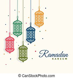 decorative hanging lanterns ramadan kareem background