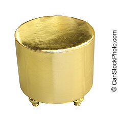 Gold decorative hassock isolated with clipping path included