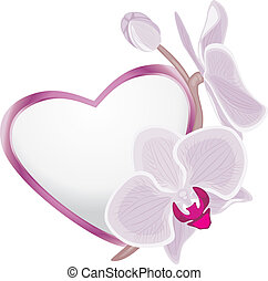 Decorative heart with orchid branch