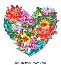 Decorative heart with Thailand flowers. Tropical multicolor plants, leaves and buds
