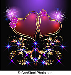 Decorative hearts and stars - Card with decorative hearts...