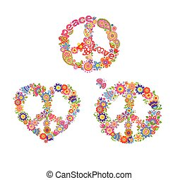 Decorative hippie prints with peace flower symbols