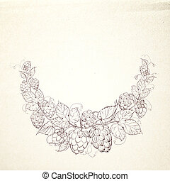 Decorative hops garland.  illustration.