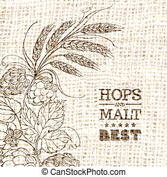 Decorative hops vector illustration border