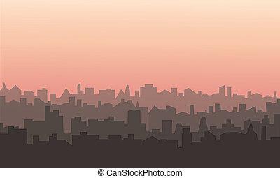 Decorative horizontal morning landscape of modern city