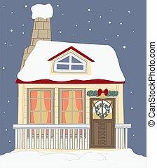 Decorative house for xmas holidays, christmas deco