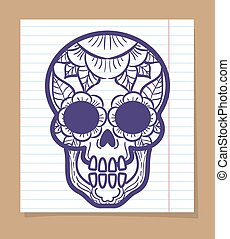 Decorative human skull with floral ornament