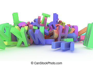 Decorative, illustrations CGI typography, alphabet, letter of ABC. Good for design texture, background. Shape, mess, bunch & symbol.