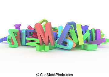Decorative, illustrations CGI typography, alphabet, letter of ABC. Good for design texture, background. Concept, wallpaper, mess & graphic.