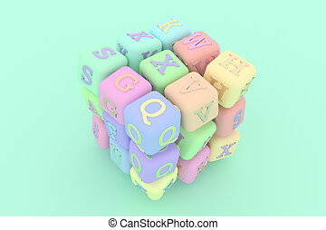 Decorative, illustrations, cube or block ABC sign or symbol, for design texture background. 3D render.