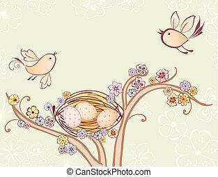 Decorative image of the birds fly over their nest