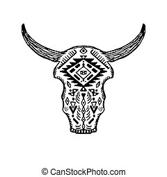 Decorative Indian bull skull in tattoo tribal style. Hand drawn vector illustration