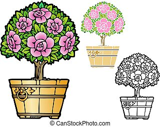 topiary rose tree - decorative indoor plant, topiary rose ...