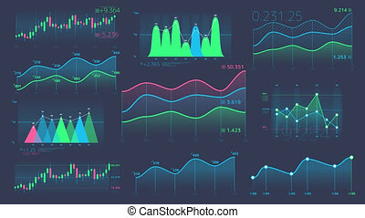 Decorative infographics from linear and candle charts - A...