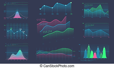 Decorative infographics from linear charts - A set of...