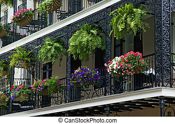 Decorative Iron Balcony in the French Quarter district of...