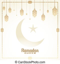 decorative islamic lanterns ramadan kareem card design
