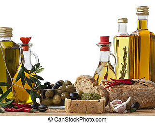Decorative Italian deli with 5 different Olive Oil, Italian Bread and Olive on a white Background.
