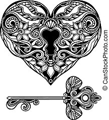 Decorative Key And Lock - Decorative heart shape key and...