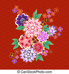 Decorative kimono floral motif on red background vector...