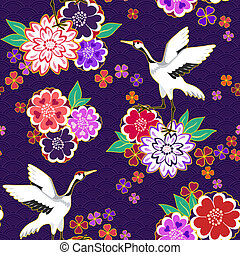 Decorative kimono pattern - Decorative kimono floral motif...