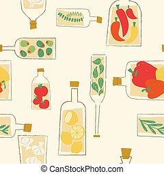 Decorative kitchen bottles seamless pattern