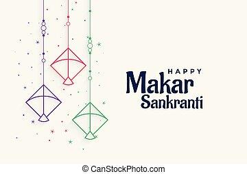 decorative kites background for makar sankranti