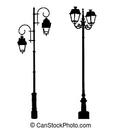 Decorative lamppost on white - Silhouettes of decorative ...