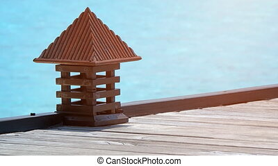 Decorative Lantern on the Pier at a Luxury Tropical Island Resort