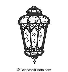 Decorative lantern. Sketch scratch board imitation. Black and white. Engraving vector illustration.