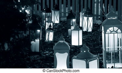 Decorative lanterns glow with different colors.