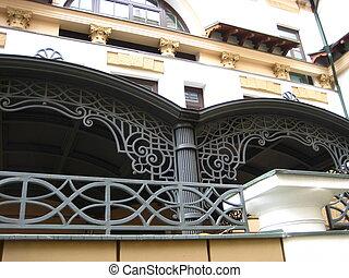 Decorative lattices on a building
