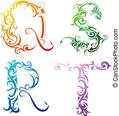 Decorative letter font type