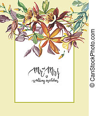 Decorative letter - Mr and mrs. Summer flower Crocosmia, Aquilegia frame in a watercolor style isolated. Aquarelle flower could be used for background, texture, wrapper pattern, frame or border.