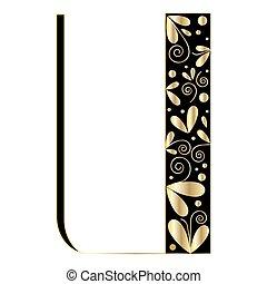 Decorative letter shape. Font type U