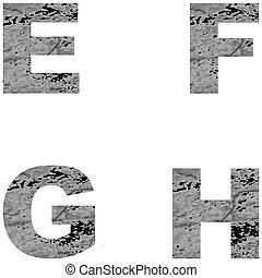 Decorative letters. E, F, G, H. Vector