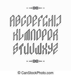 Decorative line font.