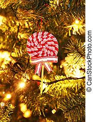 decorative lollipop on Christmas tree