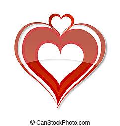 decorative love heart symbol red color