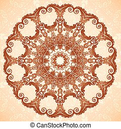 Decorative mandala in Indian mehndi style, seamless pattern