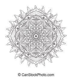 Decorative Mandala ornament, exquisite outline floral design...