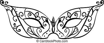 Decorative mask, illustration, vector on white background.