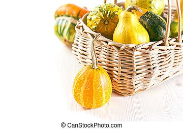 Pumpkins in basket