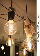 Decorative modern lamps in a cafe